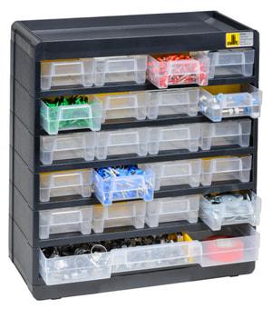 Mallette pour pt. pcs, 21 tiroirs, 11 séparateurs