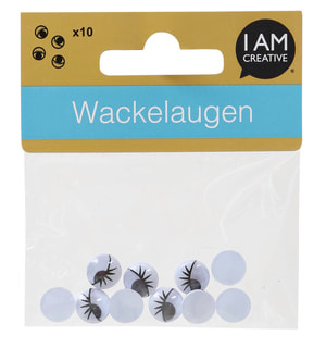 Wackelaugen, mit Wimpern, 10 Stk.