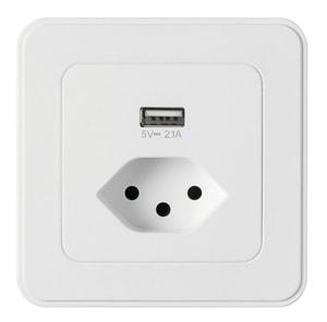 Mica for you combination à encastrer T13 blanc avec USB 2.1A