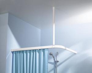 Deckenhalterung weiss 60 cm zu Duschvorhang-Federschiene mit Knopfsystem