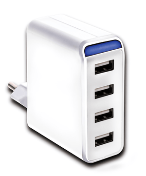 USB Charger 4-fach 4.8A AC mit LED weiss