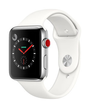 Watch Series 3 GPS/LTE 42mm stainless steel/white sport