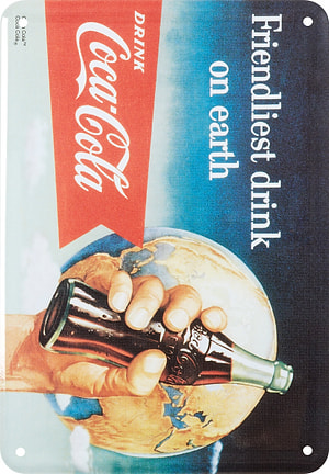Werbe-Blechschild Coca Cola Friendliest drink on earth