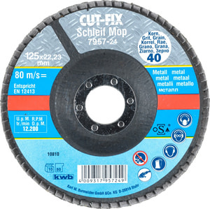 CUT-FIX® Straccio abrasivo, per metallo, ø 125 mm, K40