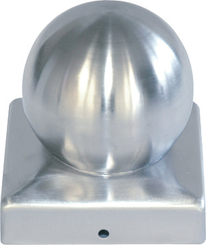 Capuchons pour poteaux en bois, plat avec boule, 9 x 9 cm