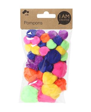 Pompons, neon Mix, 48 Stk.