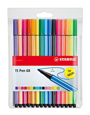 Feutre de couleur STABILO® pen 68, 15 couleurs