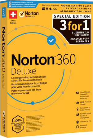 Norton Security 360 Deluxe 25GB 3For1 De