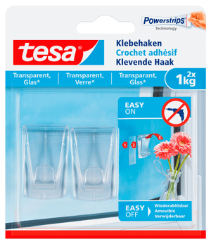 Ganci adesivi, trasparenti, vetro, 1 kg