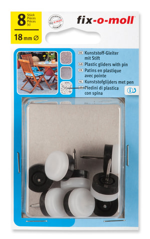Kunststoffgleiter mit Stift 4 mm / Ø 18 mm 8 x
