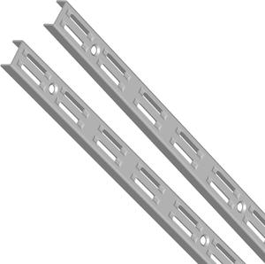 Guida a muro, 2 file alluminio bianco 2000 mm 2x