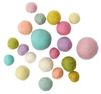 Boule de feutre, pastell, 15 - 30 mm, 20 pcs.