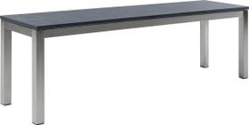 LOCARNO, Gestell Polar Silber, Platte Granit Gartenbank 753195420020 Grösse L: 200.0 cm x B: 35.0 cm x H: 45.0 cm Farbe Schwarz Bild Nr. 1
