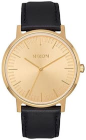 Porter Leather All Gold Black 40 mm Montre bracelet Nixon 785300136982 Photo no. 1