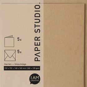 Karten+Umschläge Quadratisch, 2 x 5 Stück, braun 666541500070 Farbe Braun Grösse B: 16.3 cm x T: 1.0 cm x H: 16.3 cm Bild Nr. 1