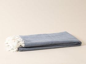 Coperta di cotone nappe Coperta 657738400000 Colore Blu Taglio L: 130.0 cm x L: 170.0 cm N. figura 1
