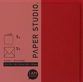 Karten+Umschläge Quadratisch, 2X5Stück, rot 666541500040 Farbe Rot Grösse B: 16.3 cm x T: 1.0 cm x H: 16.3 cm Bild Nr. 1
