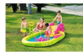 Ovales Spielbecken für 5-6 Kinder, einfach aufblasbar inkl. Wasseranschluss, mit Wasserrutsche, Octopus Sprayer 647325300000 Bild Nr. 1