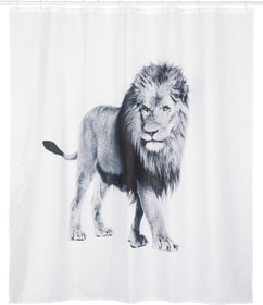 LION Duschvorhang 453152753410 Grösse B: 180.0 cm x H: 180.0 cm Farbe Weiss, Schwarz Bild Nr. 1