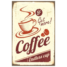 ENDLESS COFFEE Targa decorativa 431815530510 Dimensioni L: 30.0 cm x P: 0.2 cm x A: 45.0 cm N. figura 1