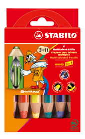 Matita Multitalent STABILO® Woody 3 in 1, 6 matite