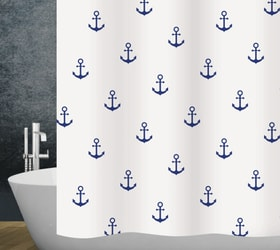 Duschvorhang Anchor diaqua 674084700000 Farbe Weiss-Blau Grösse 240 x 180 cm Bild Nr. 1