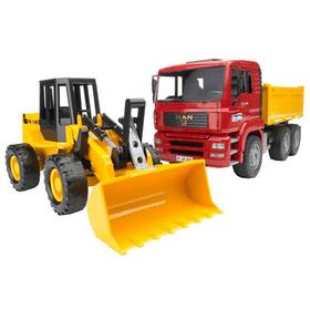 MAN TGA Kipplastwagen mit Gelenkradlader FR130 Spielfahrzeug Bruder 785300127854 Bild Nr. 1