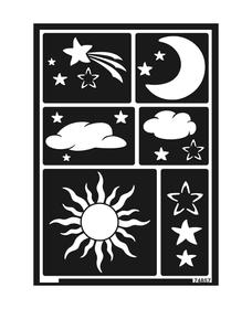 KREUL Flexible Designschablone selbstklebend Sonne, Mond und Sterne A5 C.Kreul 667214400000 Bild Nr. 1