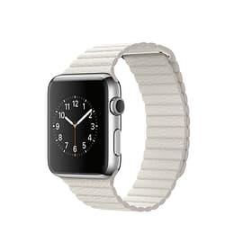 Apple Watch, 42mm Edelstahlgehäuse mit Lederarmband Weiß - large Apple 79813030000016 Bild Nr. 1