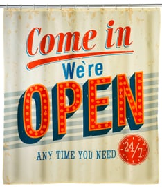 Tenda doccia Vintage Open antimuffa WENKO 674007500000 Taglio 180x200 cm N. figura 1
