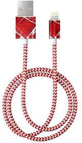 "Câble 1.0m, Lightning->USB  ""Scarlet Red Marble"" Câble iDeal of Sweden 785300148070 Photo no. 1"