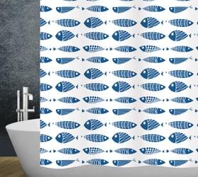 Duschvorhang Scuby diaqua 674085100000 Farbe Weiss-Blau Grösse 240x180 cm Bild Nr. 1