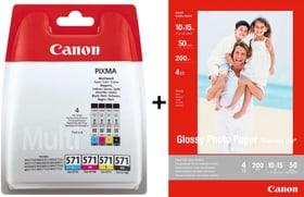 Cartuccia d'inchiostro CLI 571 Multipack + carta fotografica lucida GP-501 Canon 798557900000 N. figura 1
