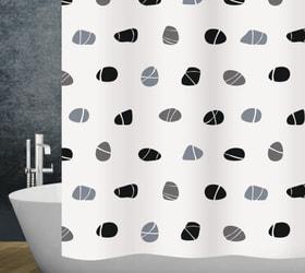 Duschvorhang Stones diaqua 674092400000 Farbe Weiss Grösse 120 X 200 CM Bild Nr. 1