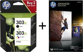 Bundle Combopack 303XL + HP Advanced Photo Paper 10x15 25  pagina Cartuccia d'inchiostro HP 798258200000 N. figura 1