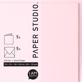 Karten+Umschläge Quadratisch, 2X5Stück, rosa 666541500030 Farbe Rosa Grösse B: 16.3 cm x T: 1.0 cm x H: 16.3 cm Bild Nr. 1