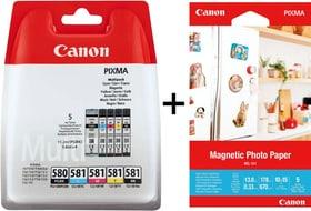 multipack CLI-581, PGI-580 + papier photo magnétique MG-101 set cartouche d'encre et papier photo Canon 798563000000 Photo no. 1