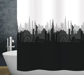 Duschvorhang City diaqua 674085500000 Farbe Weiss-Schwarz Grösse 240 X 180 CM Bild Nr. 1