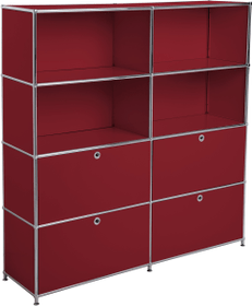 FLEXCUBE Regal 401815120430 Grösse B: 152.0 cm x T: 40.0 cm x H: 155.5 cm Farbe Rot Bild Nr. 1