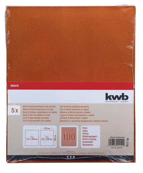Papier de verre GR. 100, 5 pcs. kwb 610551100000 Photo no. 1