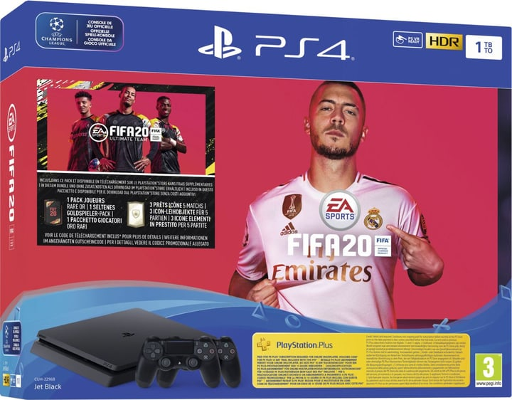 PlayStation 4 1TB Slim incl. 2 DualShock Controller + FIFA 20 Console Sony 785444200000 Photo no. 1