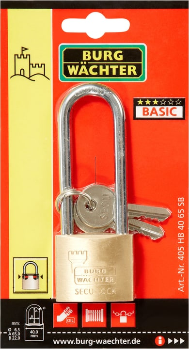 Zylinderschloss Secu-Lock 405 HB 40 65 Burg-Wächter 614062000000 Bild Nr. 1