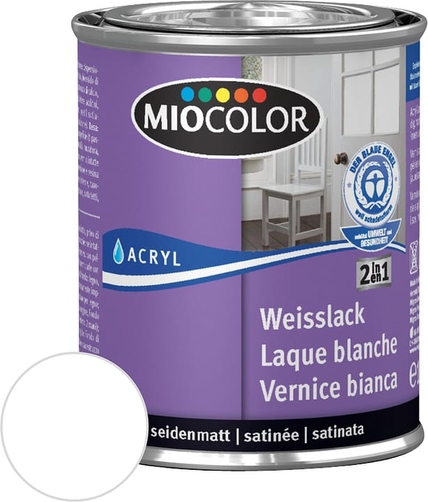 Vernice acrilica bianca satinata opaca Bianco 125 ml Miocolor 676772200000 Contenuto 125.0 ml Colore Bianco N. figura 1