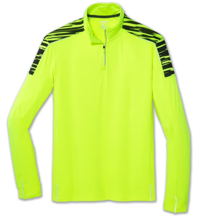 Nightlife 1/2 Zip pull pour homme Brooks 470193300555 Couleur jaune néon Taille L Photo no. 1