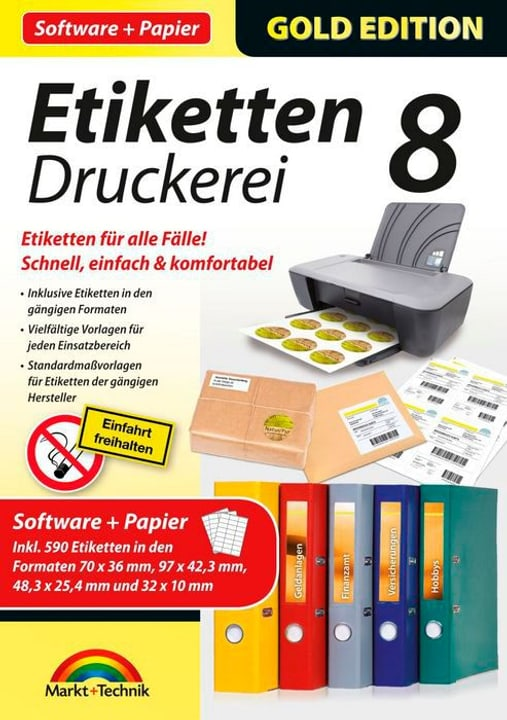 PC - Gold Edition: Etiketten Druckerei 8 mit Papier (D) Physique (Box) 785300122161 Photo no. 1