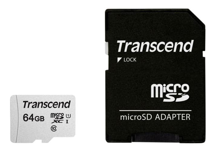 microSD Card 300S, 64GB SDXC inkl. Adaptateur Cartes mémoire microSD Transcend 785300147302 Photo no. 1