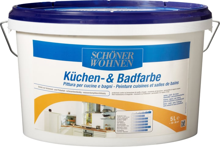Pittura per cucine e bagni Schöner Wohnen 660912600000 Colore Bianco Contenuto 5.0 l