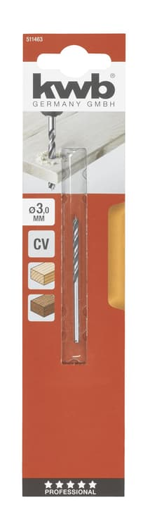 Punte elicoidali per legno 3,0 mm kwb 616342400000 N. figura 1