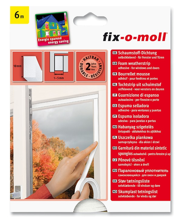 Schaumstoff-Dichtung 10 x 6 mm, 6 m Fix-O-Moll 673002100000 Bild Nr. 1