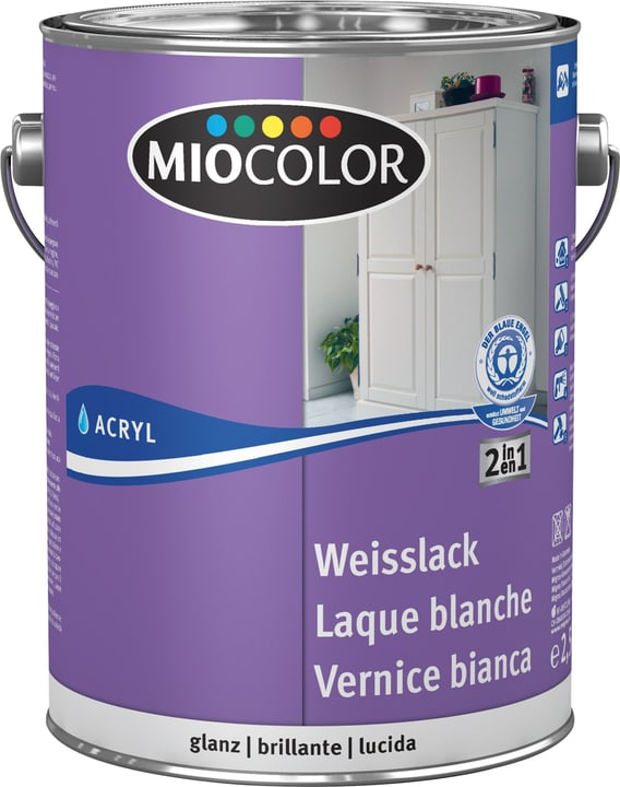 Laque acrylique blanche brillante Blanc 2.5 l Miocolor 660562400000 Contenu 2.5 l Couleur Blanc Photo no. 1
